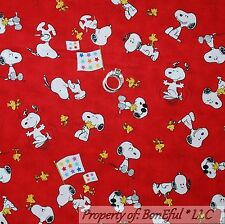 BonEful Fabric FQ Cotton Quilt Red Snoopy Yellow Woodstock White Dog S Star Flag