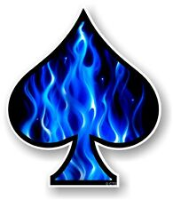 ASSO DI PICCHE CON Elictric Fiamme Blu Fuoco VINILE CAR Casco Bici Sticker Decalcomania