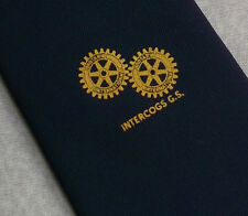 Rotary International intercogs G.s. Club asociación tie Vintage Años 70 Azul Marino