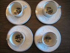 Wedgwood Queensware Patrician transfer print (4) demitasse teacups and saucers
