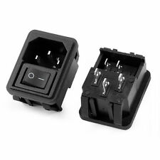 1pcs SPST On-Off Rocker Boat Switch IEC320 C14 Inlet Power Socket AC 10A 250V
