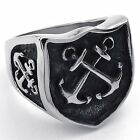 Mens Stainless Steel Ring, Vintage Cross Anchor Shield, Black Silver