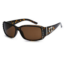 Womens Rhinestones Studded Rectangle Sunglasses UV Protect -Tortoise CG04