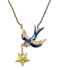 N80 BETSEY JOHNSON Exquisite Blue Swallow Martin with Dangling Star Necklace US