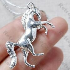 LARGE HORSE PENDANT vintage silver plated LONG NECKLACE big FAIRYTALE KITSCH