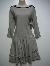 Lauren Ralph Lauren Black Cream Striped 3/4 Sleeve Tiered Skirt Dress L New