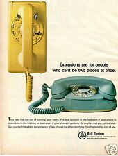 1965 Bell Telephone Print Ad Two Phones for a Fraction More