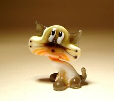 "Blown Glass ""Murano"" Art Figurine Animal Small White and Orange Kitten CAT"