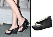 Womens Slides Thong Flip-Flops High Platform Wedge Heels Beach Sandals Shoes