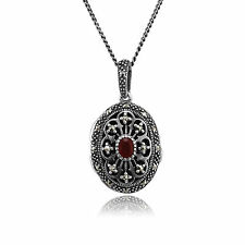 Sterling Silver 0.1ct Cornelian & Marcasite Victorian 45cm Locket Necklace