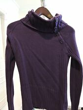 DKNY Jeans 100% Cotton Purple Medium  Thick Buttoned Turtle-neck Sweater - Sz-M