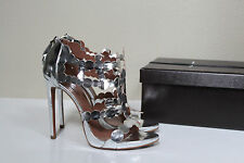 sz 8.5 / 39 Azzedine Alaia Silver Leather Open Toe Ankle Sandal Bootie Heel Shoe