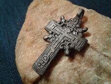 Antique Byzantine Catholic Russian Orthodox Golgotha Solar Sun cross pendant