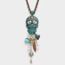 Day Of The Dead Skull Fringe Pendant Necklace Silver, Multi, Turquoise 319170