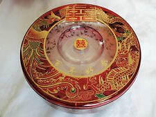 XL CHINESE RED PARTY CANDY FOOD BOX DRAGON JAPANESE SUSHI STARTER PLATE NEW YEAR
