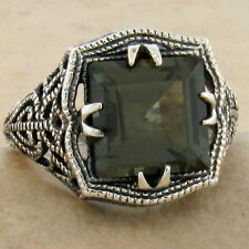 ANTIQUE FILIGREE STYLE SIM TOURMALINE 925 STERLING SILVER RING SIZE 6.75,   #899