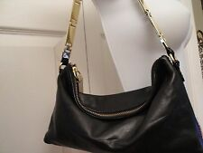 BR BANANA REPUBLIC Black Leather Small Purse Gold Tone Linked Strap Zipper Pull