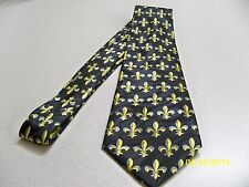 Black + gold, Fleur de lis, NFL football New Orleans Saints men's necktie #2