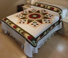 NEW! AMISH HANDMADE QUILT! ~ Improved Lone Star ~ 97 x 107