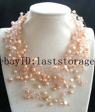"freshwater pearl  pink baroque &quartz faceted necklace 18"" starry sky handwork"