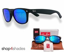 Ray Ban New Wayfarer Unisex Sunglasses RUBBER BLACK_ BLUE MIRROR 2132 622 17