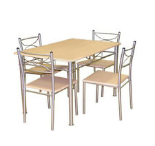 5pc Beech Dining Room Table And 4 Chairs Set Kitchen Furniture Bistro Modern
