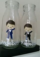 Personalised Page Boy Kids Glass Milk Bottle wedding favours gifts