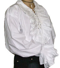 NEW Victorian/ Goth/ Pirate Mens White Ruffled Cotton Shirt, XXL