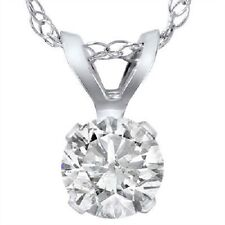 1 Carat Solitaire Pendant Enhanced Diamond 14K White Gold Womens Necklace
