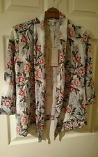 new with tags monsoon grey mix floral buttonless cardigan size small