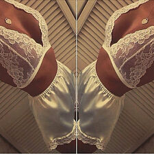Sexy Ivory Lingerie Dress Babydoll Underwear Sleepwear Lace Top Satin Panty 8-10