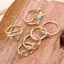 6 pcs GOLD BOHO ANTIQUE ETHNIC MOON ARROW Band Midi Mid Finger Ring Holiday