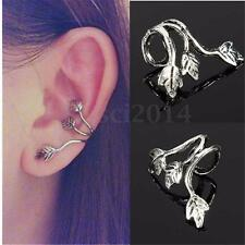 1Pcs Aretes Pendientes Puño Plata Hoja Leaf Earrings Ear Cuff Stud Clip Regalo