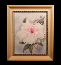 VINTAGE FRAMED TIP FREEMAN HONOLULU HAWAIIAN HIBISCUS FLOWER AIRBRUSH PAINTING