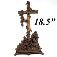 "Antique Black Forest Carved 18.5"" Holy Font, Altar Cross, Crucifix: Bird, Lizard"