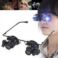 LED 20X Magnifier Magnifying Dual Eye Glasses Loupe Lens Jeweler Watch Repair MT