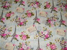 BTY EIFFEL TOWER, Roses, Post Cards Print 100% Cotton Quilt Craft Fabric by Yard