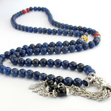6mm Lapis Lazuli Gemstone Tibet Buddhist 108 Prayer Beads Mala Necklace
