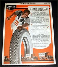 """1919 OLD MAGAZINE PRINT AD, MILLER """"GEARED TO THE ROAD"""" TIRES, WIN TIRE TEST!"""