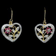 REAL RED PINK RUBY & 2pcs. PEACH DIAMOND , 2-TONE 925 SILVER HEART DROP EARRINGS