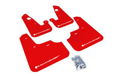 RallyArmor Red Mud Flaps (White Logo) for 07-17 Mitsubishi Lancer