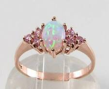 CLASSIC 9K 9CT ROSE GOLD AAA OPAL & PINK SAPPHIRE RING ART DECO INS FREE RESIZE