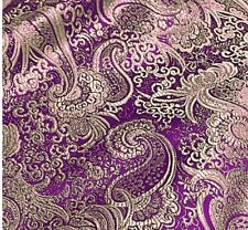 "PURPLE/GOLD PAISLEY METALLIC BROCADE 60"" WIDE 1 YARD"