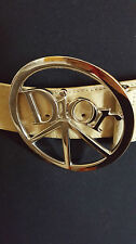 COLLECTIBLE AUTHENTIC CHRISTIAN DIOR PARIS BEIGE SUEDE SILVER BUCKLE PEACE BELT