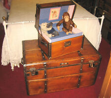 ANTIQUE STEAMER TRUNK VINTAGE VICTORIAN REGALIA DOLLS SALES SAMPLE CHEST C1890