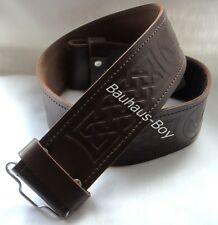 "KILT BELT BROWN LEATHER SCOTTISH THISTLE EMBOSSED size MEDIUM 34""-38"" FOR KILTS"