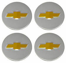 4 Genuine OEM Factory Center Caps Chevy Bow Tie Emblem Logo Chrome Finish 2 1/4