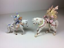 Lot Of 2 Schleich Fairy On Horse Figures, Elfen Feya and Oleana, Excellent!