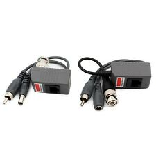 BNC Coax CCTV RJ45 Balun w/Audio Video Power Over Transceiver 3in1 Cable Jack