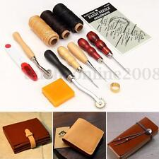 Kit 13X Couture Cuir Leather Craft Outil Main Outil Fil Poinçon Thimble Aiguille